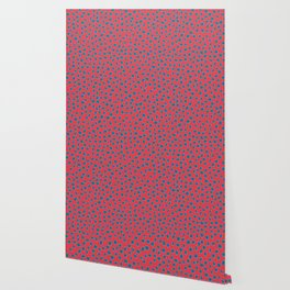 Polka Dots, Spots - Red Turquoise Teal Wallpaper