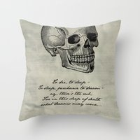 shakespeare Throw Pillows featuring Hamlet - Shakespeare by pithyPENNY