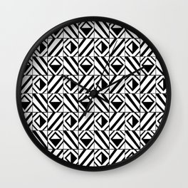 symetric tartan and gingham 8 -vichy, gingham,strip,square,geometric, sober,tartan Wall Clock
