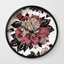 Peony vintage styled pattern with leafs and flowers Wall Clock