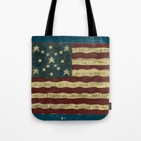 american flag Tote Bags featuring American Flag by Argi Univrs