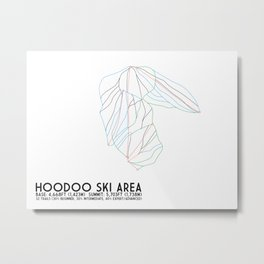 Hoodoo Ski Area, OR - Minimalist Trail Art Metal Print