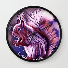 The American Red Pine Squirrel Wall Clock