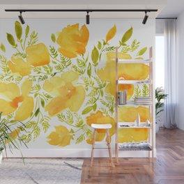Watercolor California poppies (Quad set, #2) Wall Mural