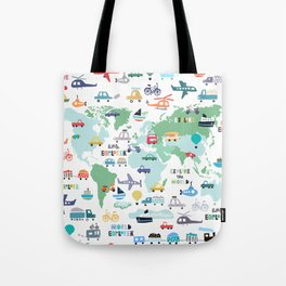 Travel The World Trains Planes Cars Trucks Map Tote Bag