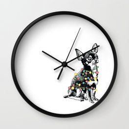 Chihuahua dog with colorful festoon Wall Clock
