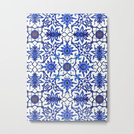 Art Nouveau Chinese Tile, Cobalt Blue & White Metal Print