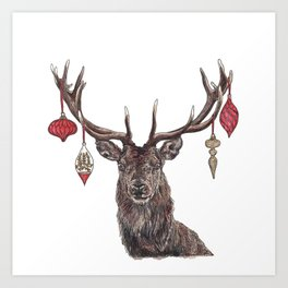Stag with Baubles Art Print