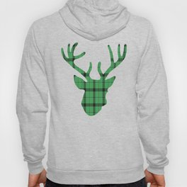 Plaid Deer Head: Green Hoody