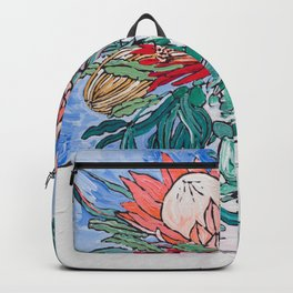 Painterly Vase of Proteas, Wattles, Banksias and Eucayptus on Blue Backpack