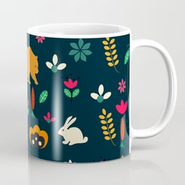 Cute little animals among flowers Coffee Mug
