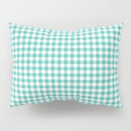 Modern green white checker picnic stripes pattern Pillow Sham