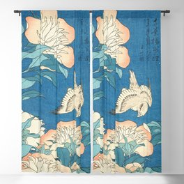 Japanese Flowers Turquoise Peach Blackout Curtain