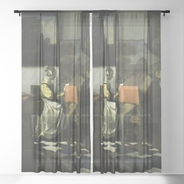 Stolen Art - The Concert by Johannes Vermeer Sheer Curtain