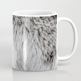 Grey and white faux fur background abstract texture pattern Coffee Mug