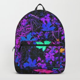 colorful maple leaf with purple and blue creepers plants background Backpack
