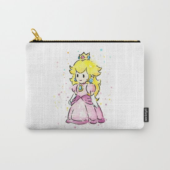 Princess Peach Mario Watercolor Game Art Carry-All Pouch