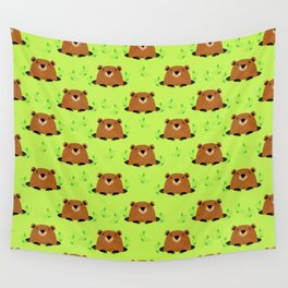 Adorable Groundhog Pattern Wall Tapestry