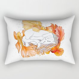 Cat and Golden Fishes Rectangular Pillow