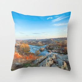 mountain landscape with Southern Bug river Throw Pillow
