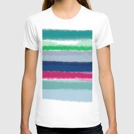 Bluish Blues 2 - Blues, Aqua, Greens, and Pinks, Stripes on White T-shirt