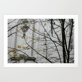 Seattle, yellow and white city Art Print