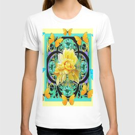 Yellow & Turquoise Butterflies & Rose Pattern T-shirt