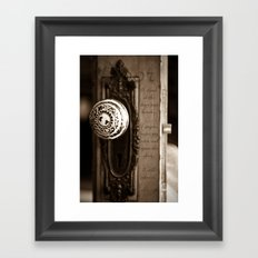 I stand at the door Framed Art Print