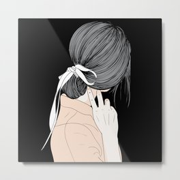 Wall art hairstyle asian girl Metal Print
