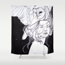 Woman with Owl Familiar Shower Curtain