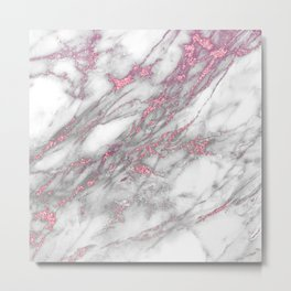 Gray & Pink Faux Marble Metal Print