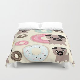 Pug and donuts beige Duvet Cover