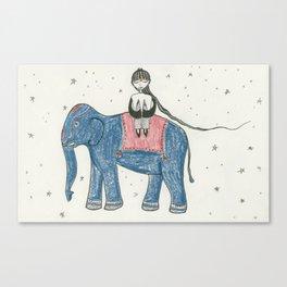 GIRL RIDING INDIAN ELEPHANT Canvas Print
