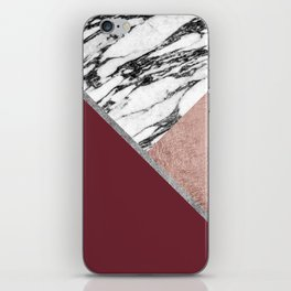 Marble Rose Gold Red Wine Triangle Geometric iPhone Skin