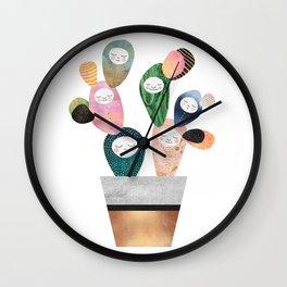 Sleepy Cactus Wall Clock