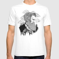 JOHN MUIR White Mens Fitted Tee LARGE