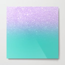 Modern mermaid lavender glitter turquoise ombre pattern Metal Print
