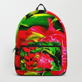 Flowers 113. Floral. Red. Green Leaves Backpack