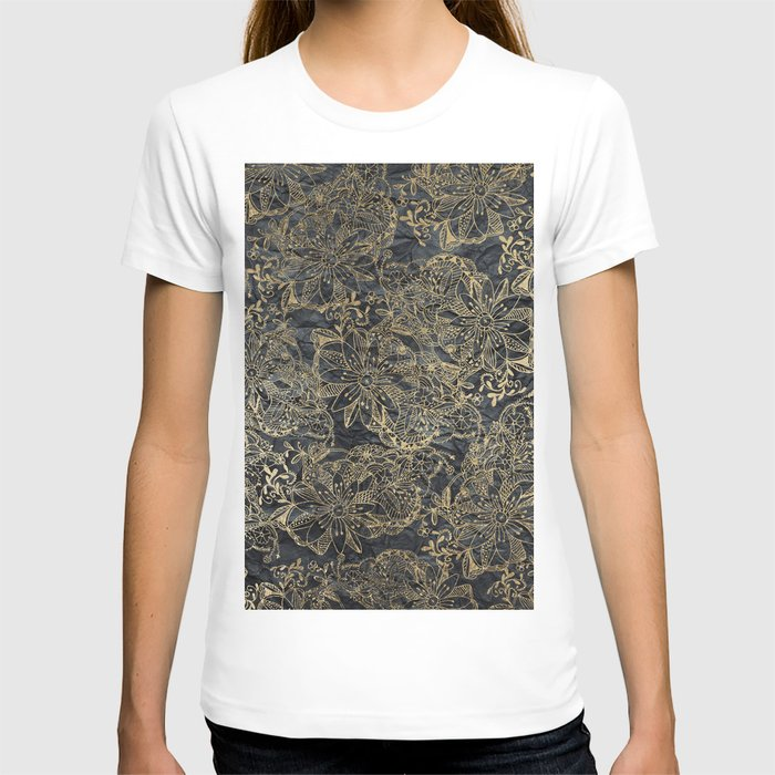Glam black gray faux gold creased paper floral T-shirt