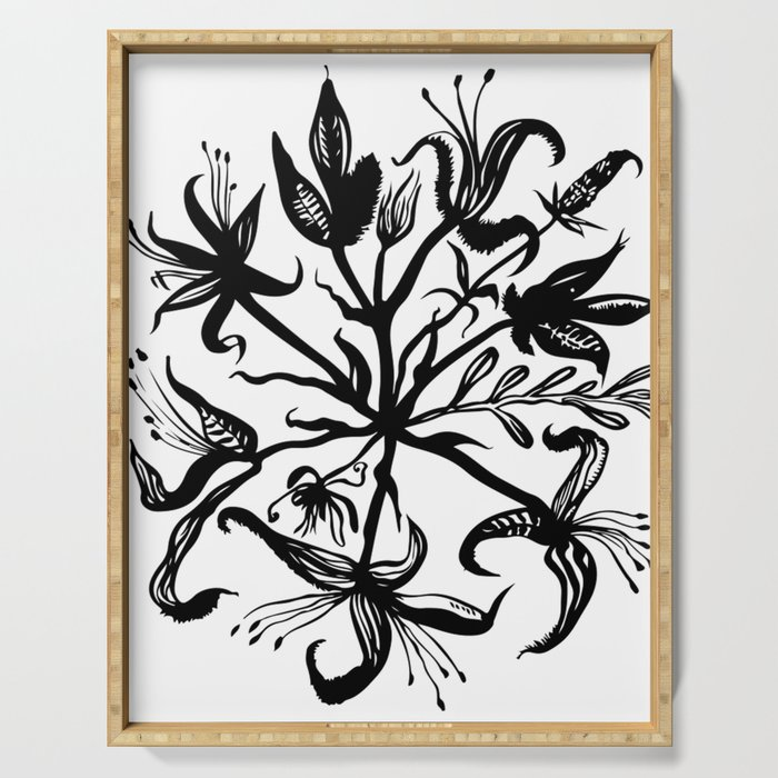 Black bouquet Serving Tray
