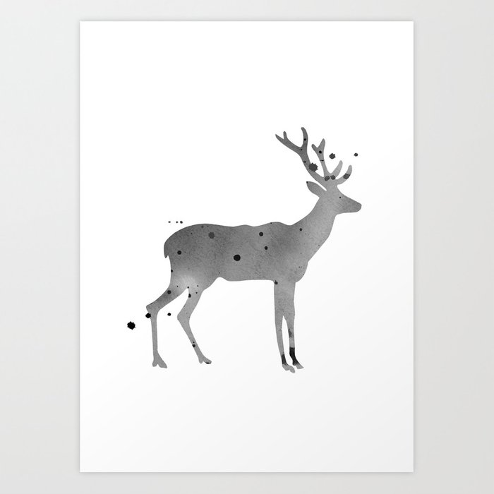 Discover the motif DEER. WATERCOLOR ILLUSTRATION ON WHITE. by Art by ASolo as a print at TOPPOSTER