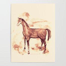 Horse sepia illustration Poster