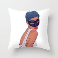 rebel Throw Pillows featuring Rebel by Ela Designs
