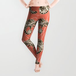 Chameleon Oneness in Midnight Vintage Psychedelic Salmon Space Leggings