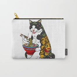 Cat eating Chinese Noodles with Tiger Tattoo Carry-All Pouch