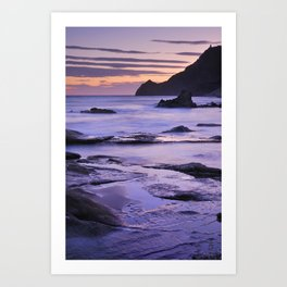 Vela blanca tower. Purple beach Art Print
