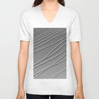gray pattern V-neck T-shirts featuring Relief - Gray by Rose Etiennette