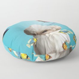 Paul Top Model Shih tzu Dog - tropical Fishes Floor Pillow