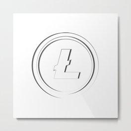 Litecoin LTC White Transparent Dark Edge Logo Metal Print