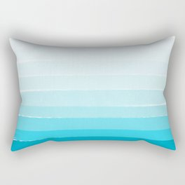 Isla - Ombre Brushstroke - Blue Turquoise, Bright, Summer, Tropical, Beach Ocean Rectangular Pillow